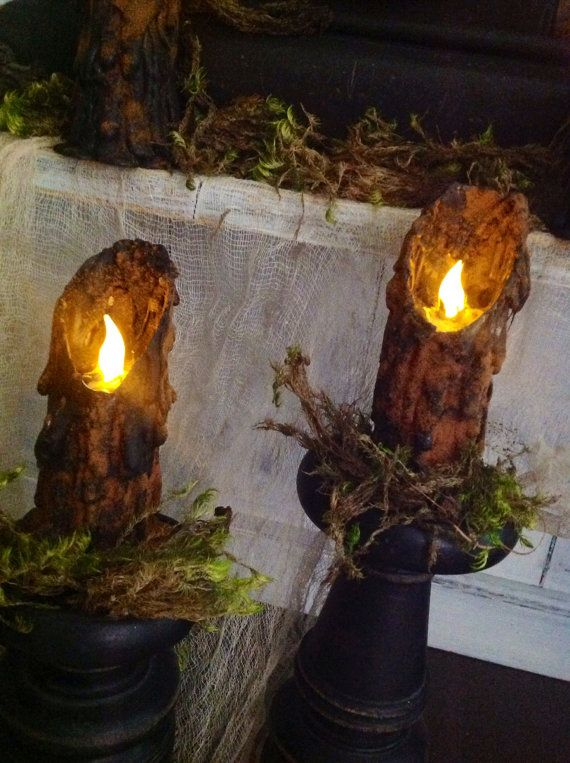 Treasury Item Timer Primitive Folk Art Halloween Witchy Salem Tavern Waxless Battery Powered  Flickering Candles (Set of 2)