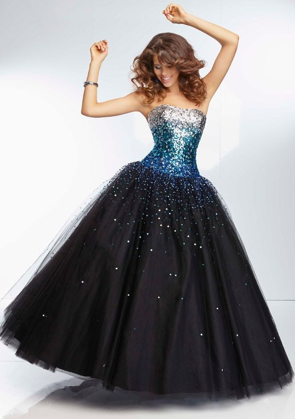 Paparazzi dress - Black/Bronze, Black/Fuchsia, Black/Purple, Black/Turquoise - 95128 Ombre Beading on Tulle Ball Gown