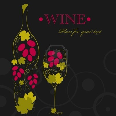 Abstraktní obraz láhev vína a sklenice na víno Reklamní fotografie