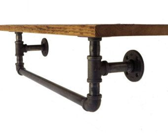 Industrial towel rack shelf Rustic Bathroom by countrycornergoods