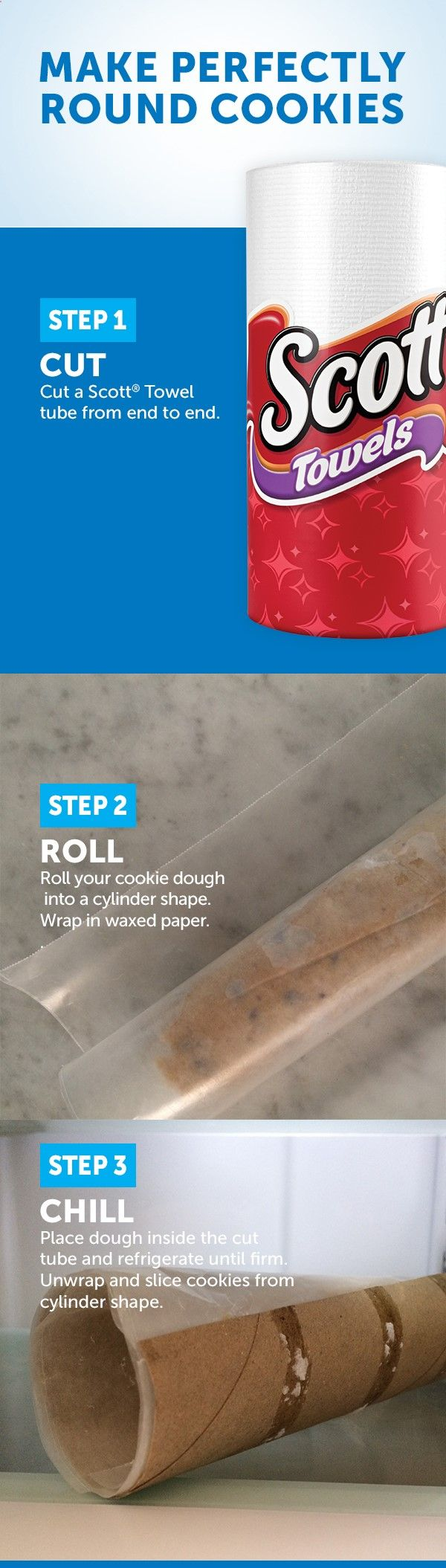 For perfectly round cookies, roll your cookie dough into a long cylinder shape. Cover with wax paper and store inside a cut paper towel tube while refrigerating. The structure of the cardboard will help the dough stay in a round shape. This is a great solution for holiday sugar cookies.