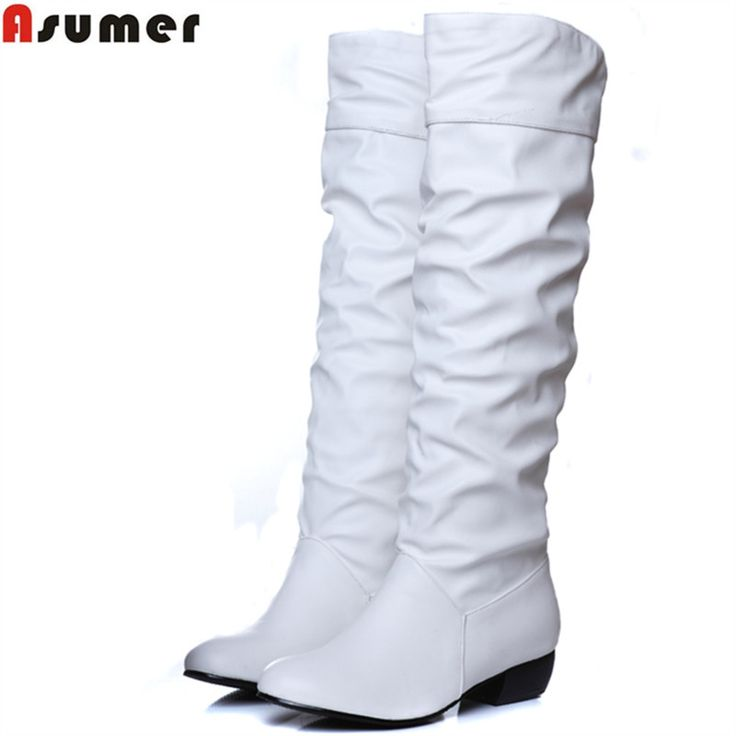 Asumer Plus size 2017 new arrive Mid-Calf Women Boots Black White Brown flat heels half boots spring autumn shoes #>=#>=#>=#>=#> Click on the pin to check out discount price, color, size, shipping, etc. Save and like it!