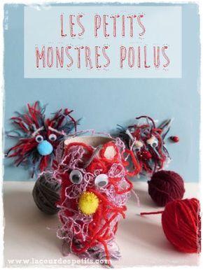 Bricolage en laine pour les enfants. Apprivoisez les monstres en en fabriquant une version velue. Plus d'info en cliquant sur le lien :)