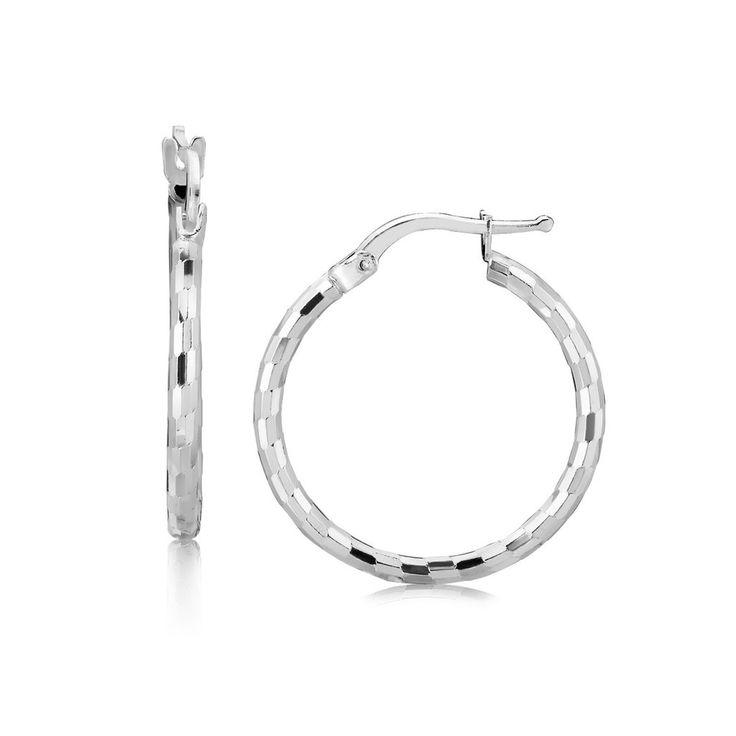 Sterling Silver Diamond Cut Hoop Earrings With Rhodium Plating 20mm