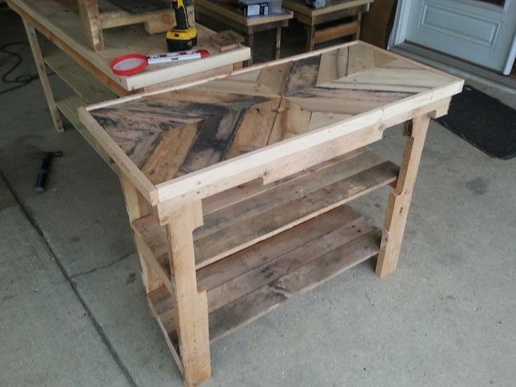 Chevron Foyer Table or shoe rack made from pallet wood. Sells for $75 stained or painted more, plus shipping
