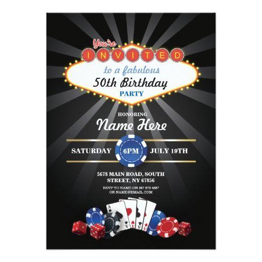 Las Vegas Casino Night Birthday Invite Party In 2019 Las Vegas