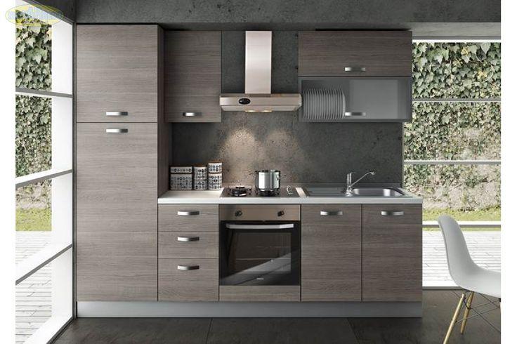 Prezzo: € 990  Cucina componibile in larice grigio completa di elettrodomestici e cappa inox L 60  Dimensioni: L.255 P.60 H.216