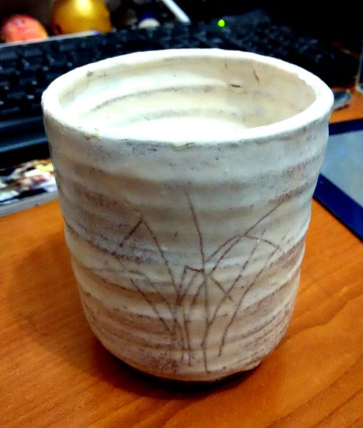 My Buncheong style cup by Geoffrey Tjakra