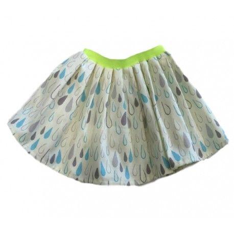 """GONNA BAMBINA OTTO BE """"GOCCE"""" Gonna a ruota da bambina di Otto Be in puro cotone con una graziosa stampa all-over a gocce con elastico in vita giallo fluo, una gonnellina versatile e glamour amata da tutte le bambine. #ottobe #abbigliamentoottobe #gonne #minigonne #skirt #teenager #bimba #bambina #girl #kids #junior #teen #clothing #abbigliamento #shopping #fashion #moda"""