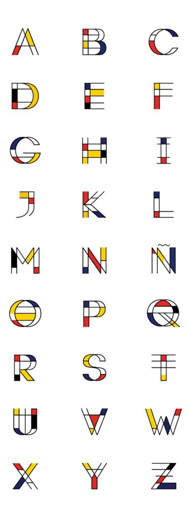 This is a typography style inspired by Piet Mondrian's famous works. It is very interesting because it not only uses the colours in an appropriate style in reference to Mondrian, there is also a three dimensionality aspect added in. This allows for the typography to go even further than it's inspiration.