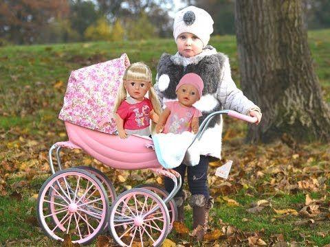 Беби бон Сестренка Настя на прогулки в коляске с Эльвирой и куклой беби ...