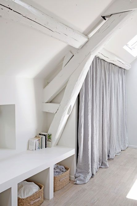 a curtained closet