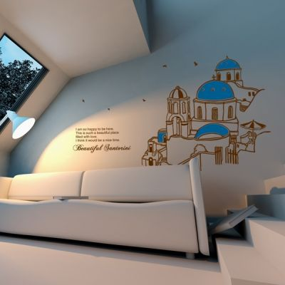 Free Shipping Wholesale and Retail Large church Mediterranean Style Wall Stickers Wall Decals Decal Home Decor