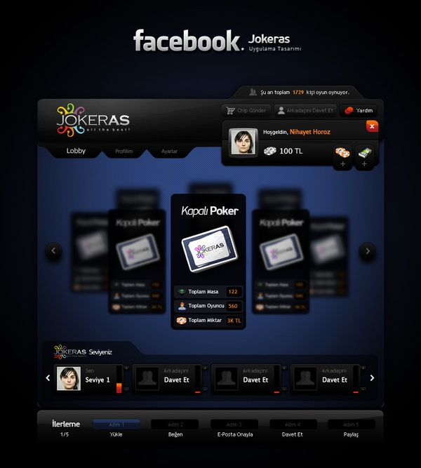 Jokeras - Facebook Game App. by Sencer Bugrahan , via Behance