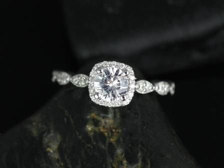 Petite Christie 14kt White Sapphire and Diamonds Cushion Halo WITH Milgrain Engagement Ring (Other metals and stone options available)