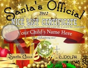 Christmas for Kids Ideas: Santa's Nice List Certificate - give it to your kids Christmas Eve so they know Santa will make an appearance!