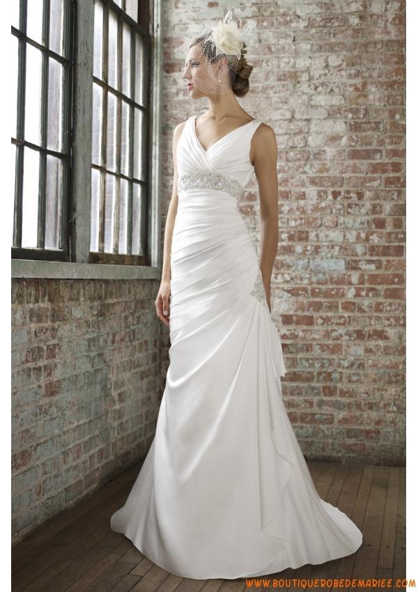 Robe de mariée 2013 satin perles col V taille empire