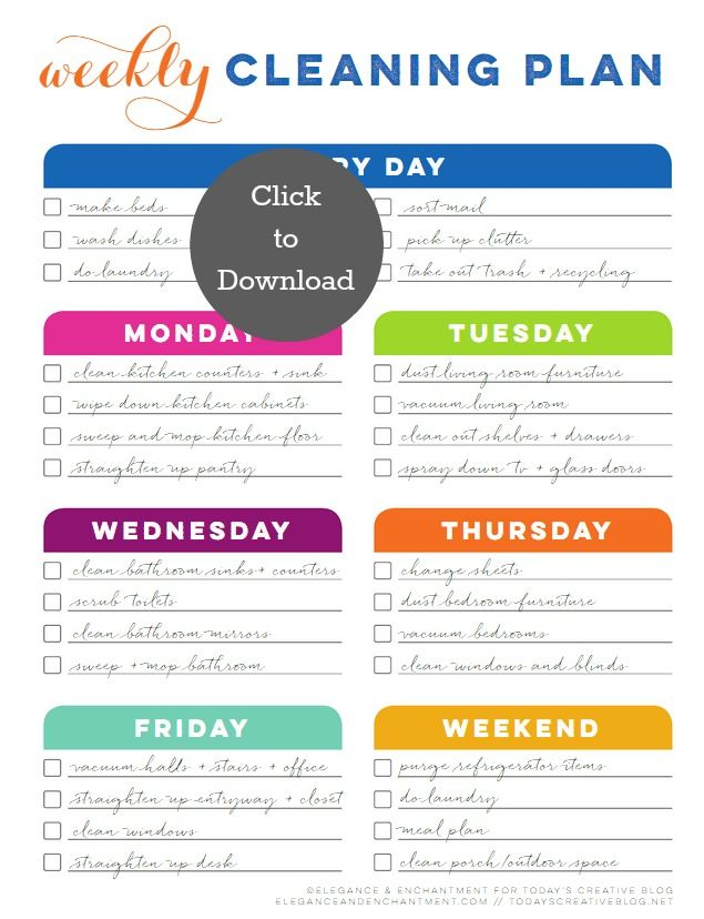 Weekly Cleaning Schedule Printable   There's also a blank form for your own schedule
