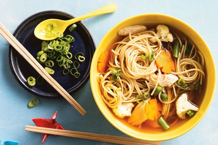 Chicken, ramen and vegetable soup