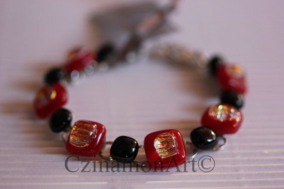 RedBlack Dichroic Fused Glass Bracelet Red and by CzinamonArt, €25.00