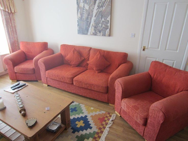 Free to anyone who can collect. Terracotta 3 seater sofa and 2 armchairs. Sofa measures approx. 2
