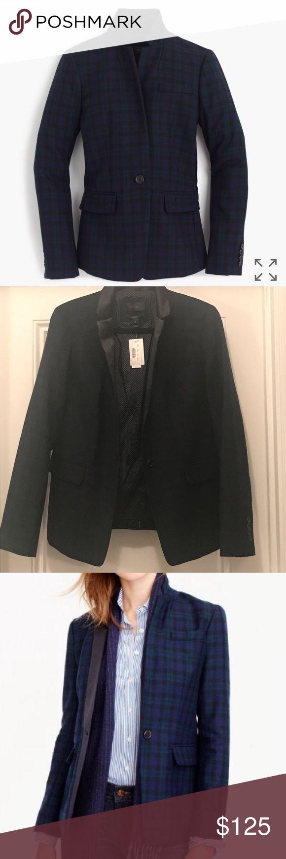 J Crew Collection Plaid Black Satin Regent Tuxedo J Crew Collection Green & Navy Blue Plaid Regent Tuxedo 1-Button Blazer with Black Satin Labels and inside pocket J. Crew Jackets & Coats Blazers