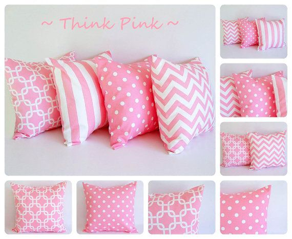 "Pink pillow cover 18"" x 18"" One cushion cover baby pink and white throw pillow cover on Etsy, £10.67"