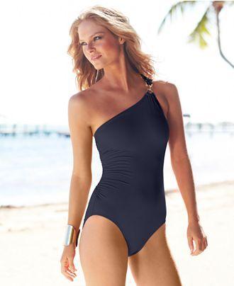 MICHAEL Michael Kors Swimsuit, One-Shoulder Maillot One-Piece - Swimwear - Women - Macys