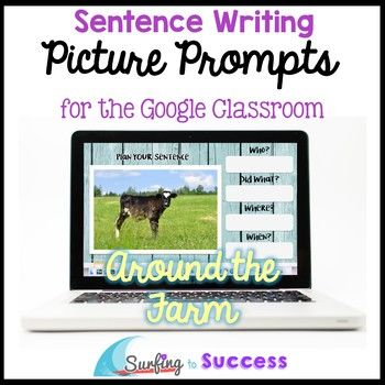 Students write a correct complete sentence while responding to picture prompts.  This digital resource in Google Slides let's students look at full color photographs while responding.The pictures in this resource focus on farm animals like chickens, sheep, and cows.This resource contains:*a teacher download with tips and instructions.This download contains two simple printable pages for error analysis and small group intervention planning.*a Google Form for assessment *a Google Slides…