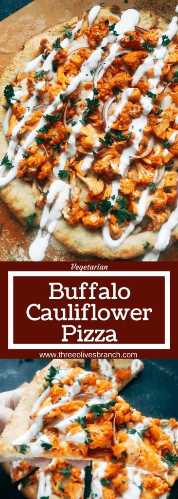 A vegetarian pizza recipe using the flavors of buffalo wings for inspiration. Roasted cauliflower is tossed with buffalo wing sauce on a ranch pizza crust. Great for game day and the Super Bowl to get a vegetarian buffalo recipe! Vegetarian Buffalo Caulif