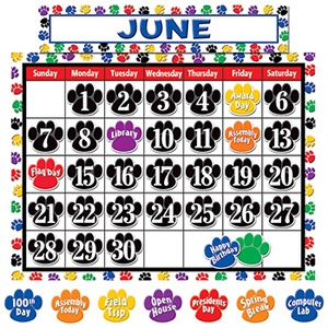 Colorful Paw Prints Calendar Bulletin Board Set- wish it was just in blue and gold