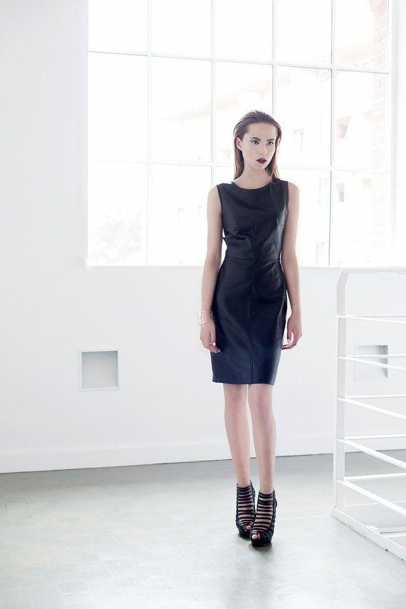 Black leather dress Handmade leather dress Elegant by Fanfaronada