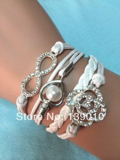 Большие скидки! Посеребренная в форме сердца бусины клевер бесконечность браслет белый кожаный веревка драгоценности подарок для женщин K-796