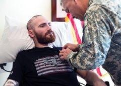Humor helps wounded Green Beret cope...... Staff Sgt. Cody Ensley is awarded the Purple Heart, for wounds he received while performing his duties in Afghanistan, by Vice Chief of Staff of the Army Gen. John F. Campbell at San Antonio Military Medical Center on Fort Sam Houston in San Antonio Jan. 3, 2014. PETER J. BERARDIU.S. ARMY Laughter comes easily to U.S. Army Staff Sgt. Cody Ensley, less than a year after he nearly lost his life in Afghanistan when an improvised explosive device…