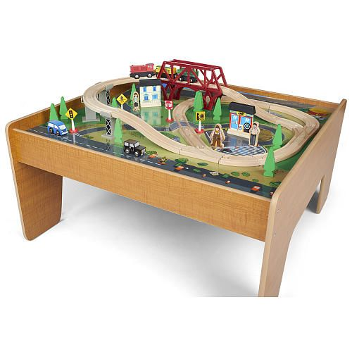 Your child will enjoy endless hours of creative play with the Imaginarium Train Set with Table. The naturally finished wooden table is a stylish addition to ...  sc 1 st  Pinterest & 22 best Wooden Train Set Tables images on Pinterest | Wooden train ...