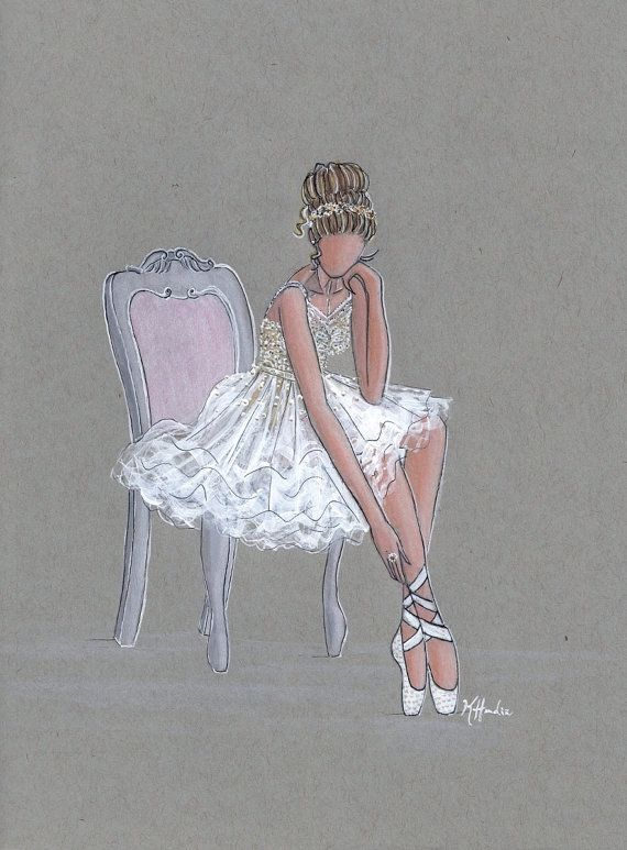 """La Petite Ballerine - Prints - 8""""x10"""" - Various Sizes - Wall Art - Art for Her - Ballerina Art - TulleDress - Ballet Slippers"""