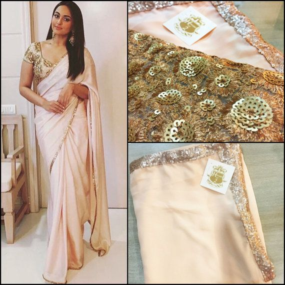 Peach crepe saree by Houseof2 on Etsy