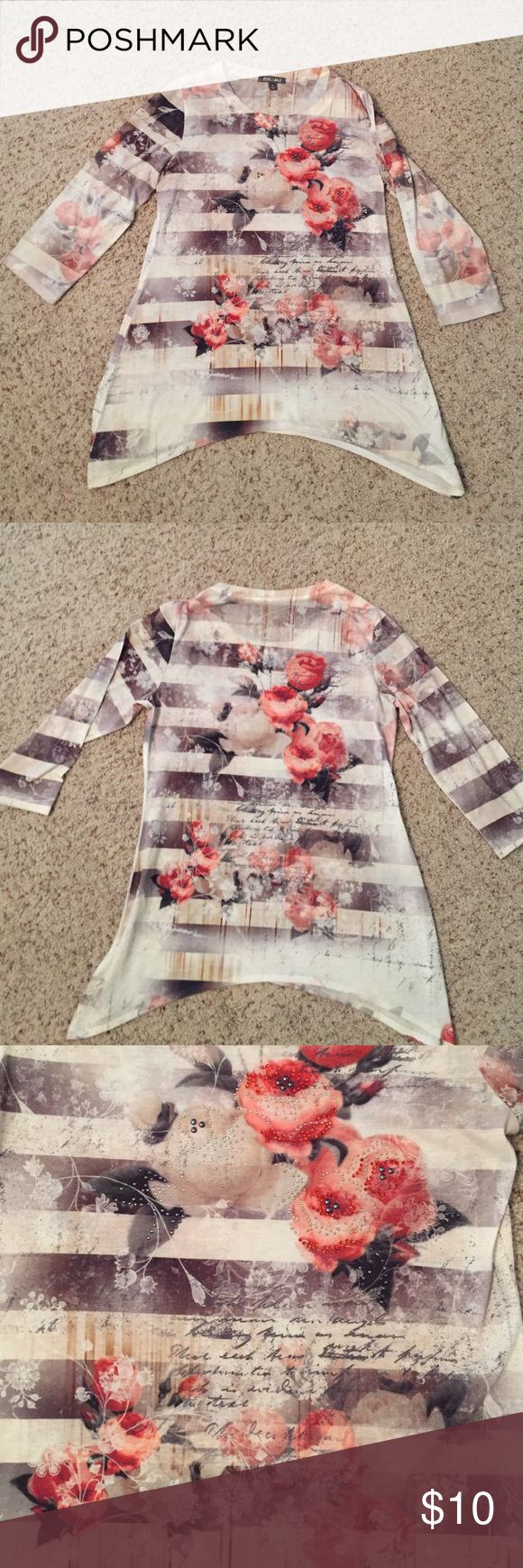 "Roz & Ali Rose Top Perfect for fall! Taupe and creme colored blouse with roses and stripes. Decorative studs on large roses (photo 4). Shark bite hem. Great condition. 28"" at longest point. Polyester. Tops Blouses"