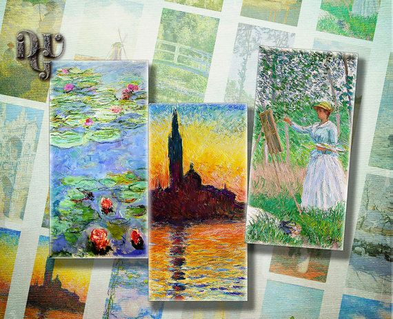 Claude Monet Art Domino size 1 x 2 inches by DreamUpGraphic