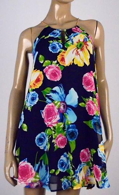 Vestido flores navy $109.990 Tallas S, M y L