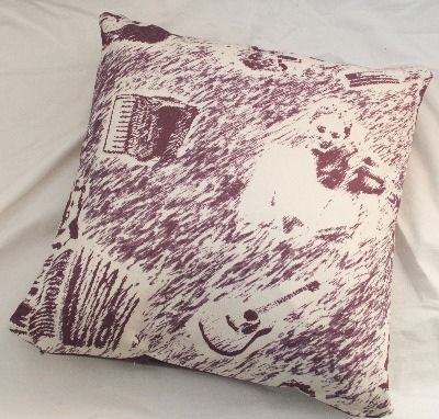 Original Collection Shetland Toile - Sangs O Shetland 18x18in cushion £52 Cotton-linen digital print, velvet back, invisible zip, duck feather pad Colour options: red/wine, purple, turquoise & green #shetland #music #british #cushion #scottish #handmade #print #textiles #country #interior