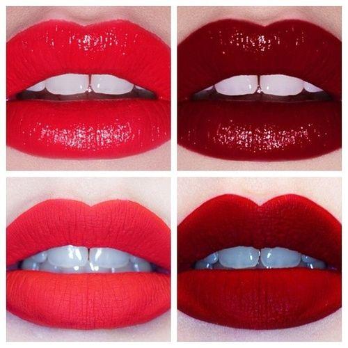 Red lips, add eye shadow to make it matte