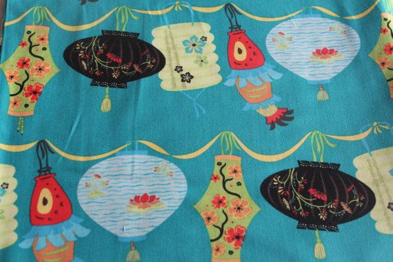 Sherri Berry Chinesse Take Out Lanterns amazing! VHTF wow Turquoise (large pattern, great colors)