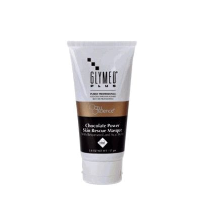 Glymed Chocolate Power Skin Rescue Masque advances vital skin cell transformation for noticeably softer and younger-looking skin. This masque is fortified with a effective Polyphenol trio of Cocoa, Resveratrol and Acai Berry. This skin nutritional masque increases the results of any medical treatment-boosting the skin's ability to heal and restore.