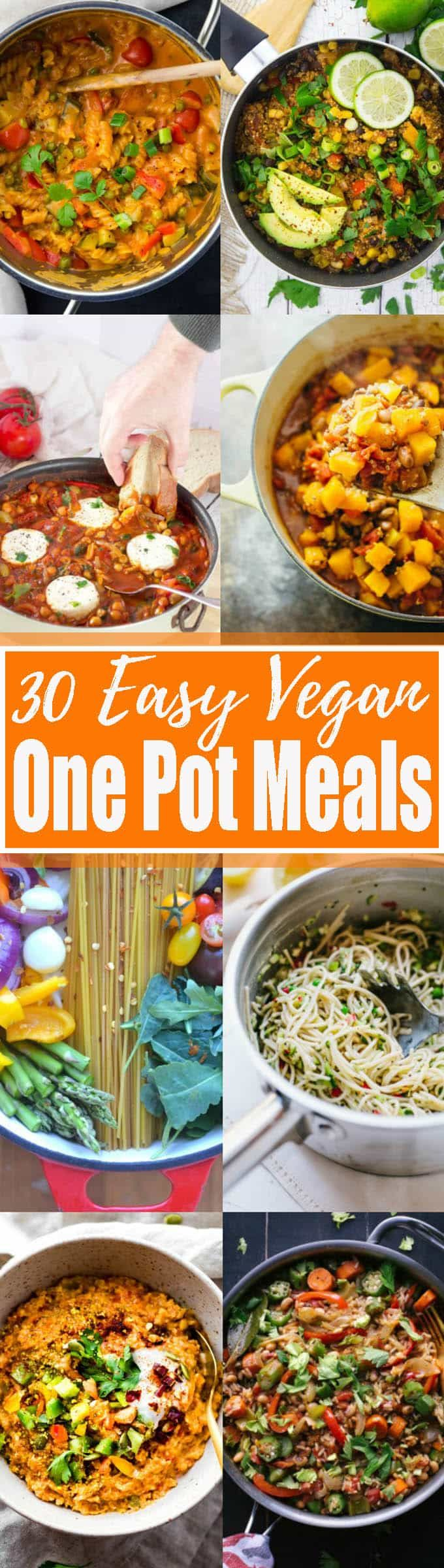 Oh, how I love one pot recipes! These 30 easy vegan one pot meals are perfect for busy days! All of these vegetarian recipes are complete meals that are made in only one cooking vessel. This is not only super easy but it also means less washing-up! Find more vegan recipes at veganheaven.org <3