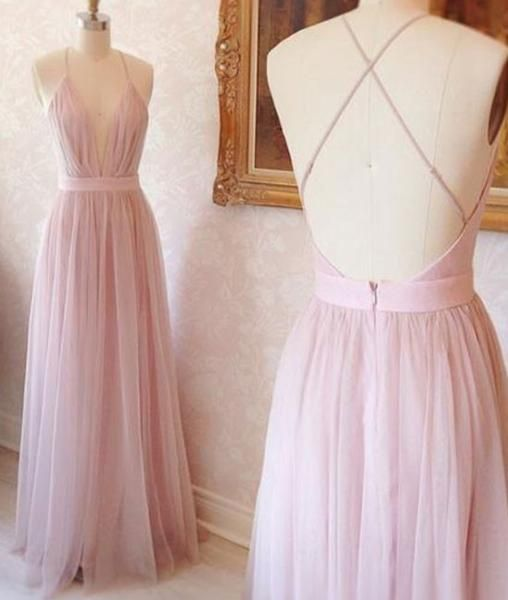 Pink v neck tulle long prom dress, pink evening dress