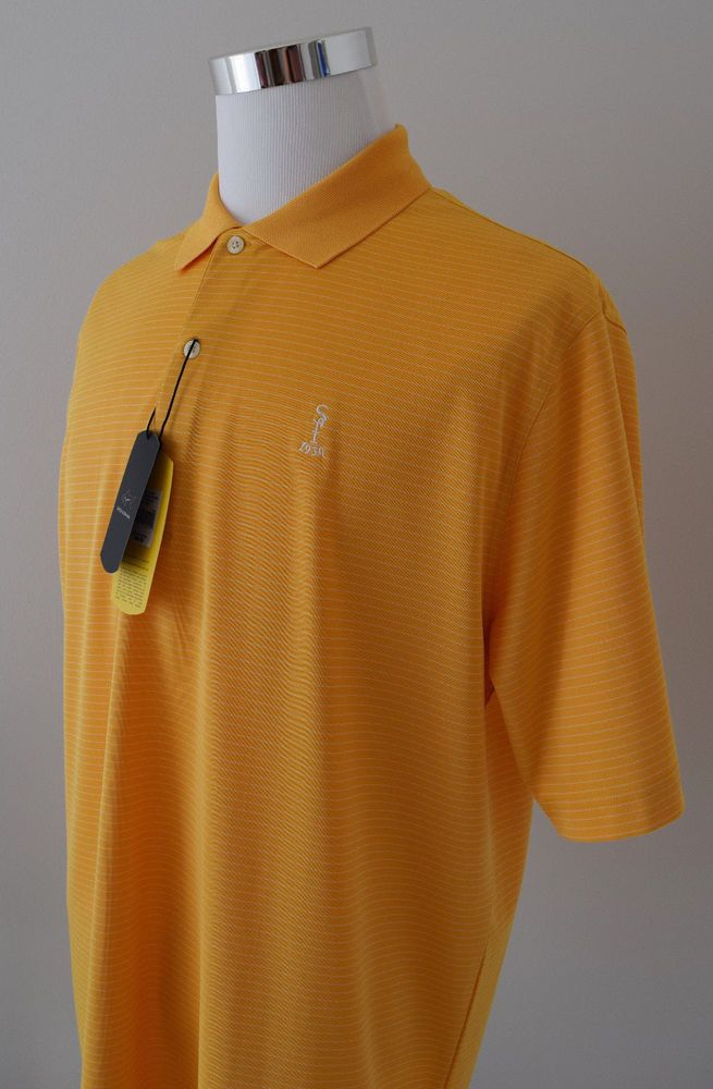 NWT Greg Norman Play Dry ML75 Men's Polo Yellow White Striped S/Sleeve Sz L $69 #GregNorman #PoloRugby