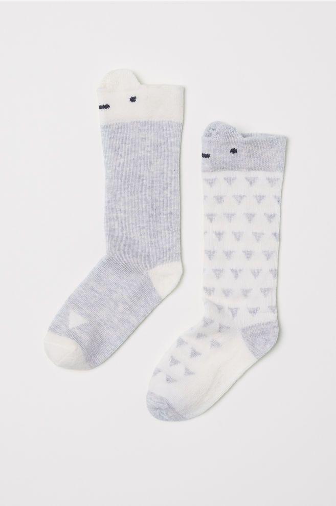 48c3f07e2 2-pack Knee Socks - White light gray - Kids
