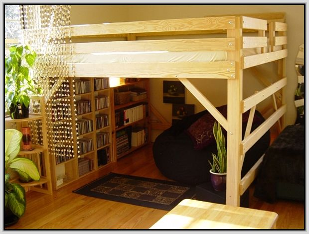 Queen size loft bed with desk full size loft beds with for Queen bunk bed with desk