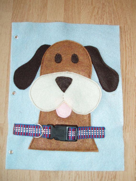 Buckle the Dog Collar Blue Felt Quiet Book Page Age by pagebypage2, $6.50